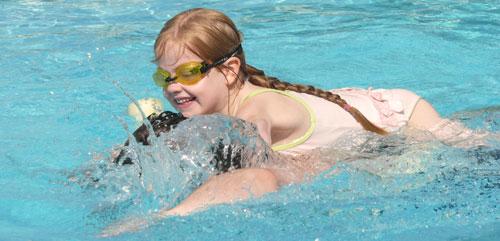 Sophie enjoying the pool
