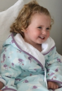 Great Fauna Bathrobe and Matching Cot Sheet from The Quick Brown Fox of Dulwich