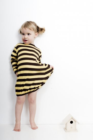 Pili pala yellow stripe bubble hem dress
