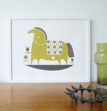 Roddy & Ginger Rocking Horse Print in Olive