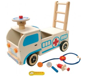 Wooden Ambulance Walker and Ride On Toy