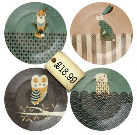 four wildlife plates by magpie