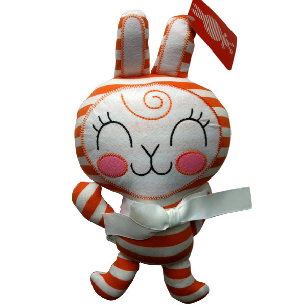orange stripy plush bunny from anna chambers