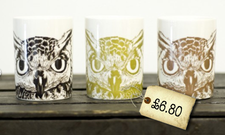 eagle owl mugs