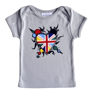 Cute Graffiti I Heart Jack Baby T-Shirt Grey at MiniWardrobe