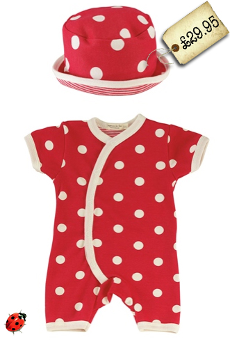 organic baby romper with hat summer red spotty