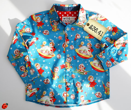 vintage look boys retro shirt with rocket spacemen