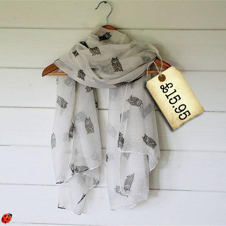 owl print scarf penelope tom