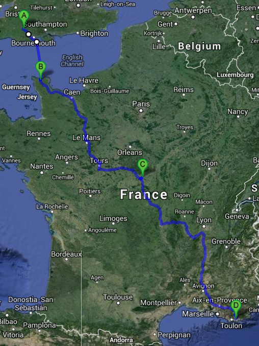 road route though france