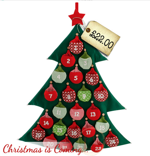 Felt Advent Christmas Tree With Bauble Pockets - Pre-Christmas ...