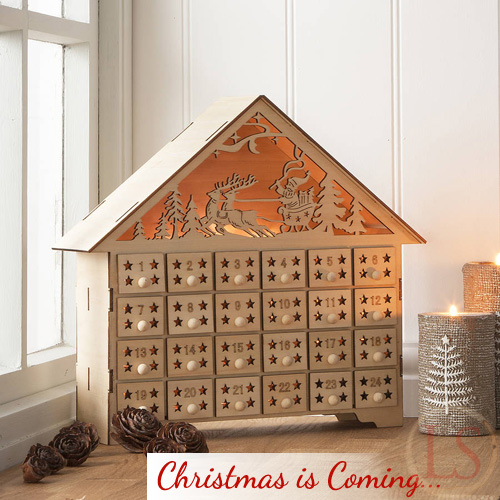 Pre christmas shopping gisela graham wooden advent house How to build a wooden advent calendar