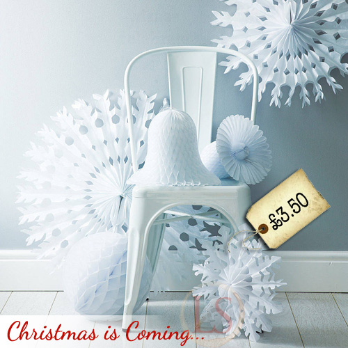 Paper Tissue Fan Christmas Decorations By Pearl And Earl: Paper Tissue Snowflake Christmas Decorations