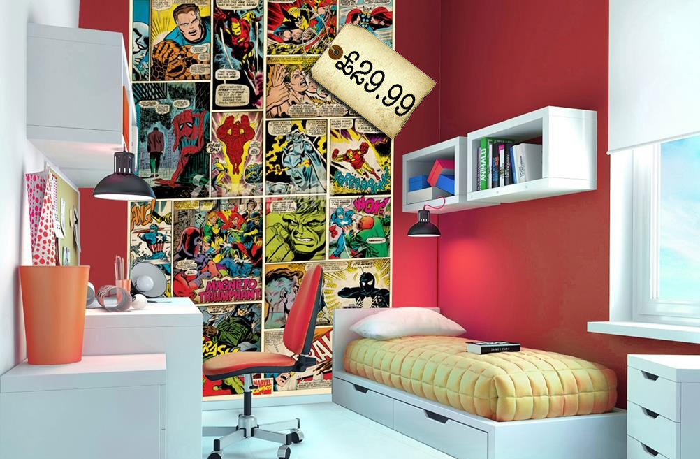 Superheroes in the bedroom littlestuff - Papeles pintados para habitaciones juveniles ...