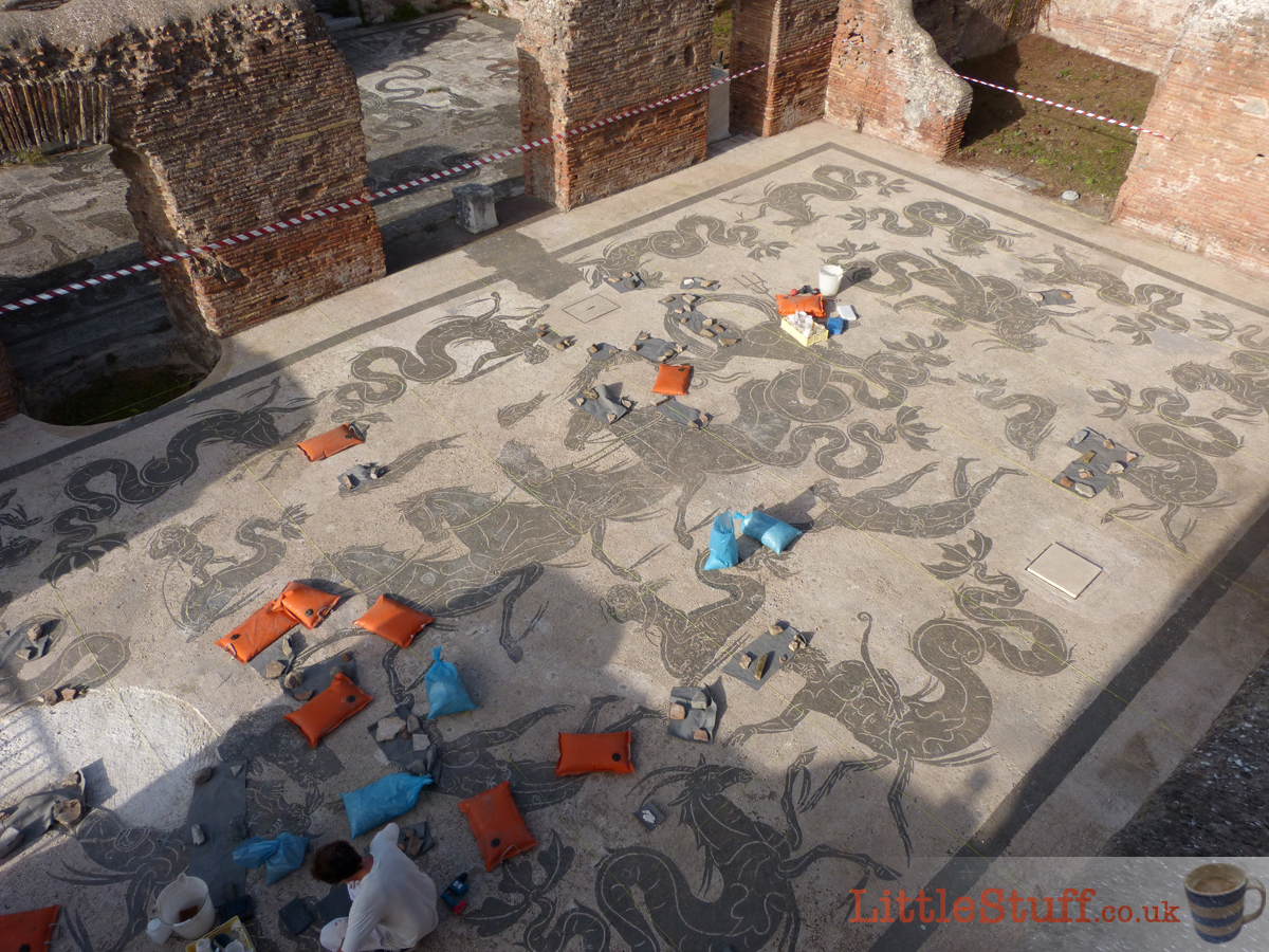 mosaic restoration at Ostia Antica