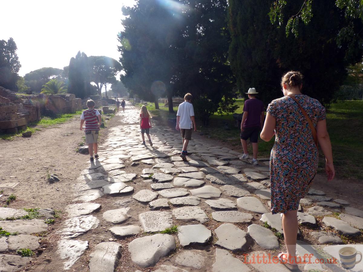 walking down the Decumanus Maximus Ostia Antica