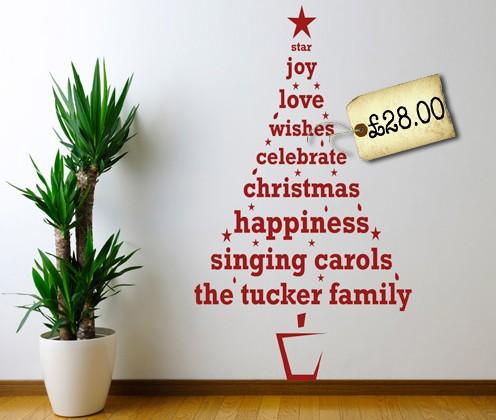 Personalised Christmas Tree Wall Sticker   Pre-Christmas Shopping List