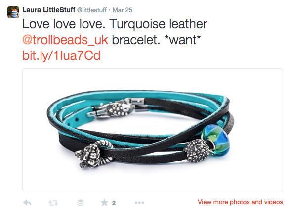 trollbeads blue leather bracelet