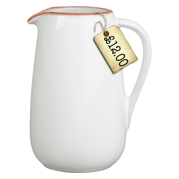 white terracotta jug