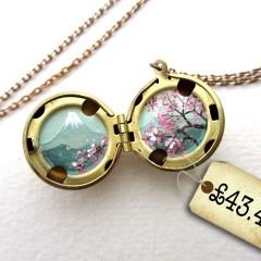 Spotted! Tiny Oil Enamel Cherry Blossoms Miniature Locket