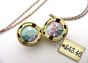 Spotted! Tiny Oil Enamel Cherry Blossoms Miniature Locket