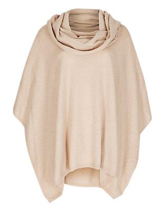 pure cashmere cowl neck poncho