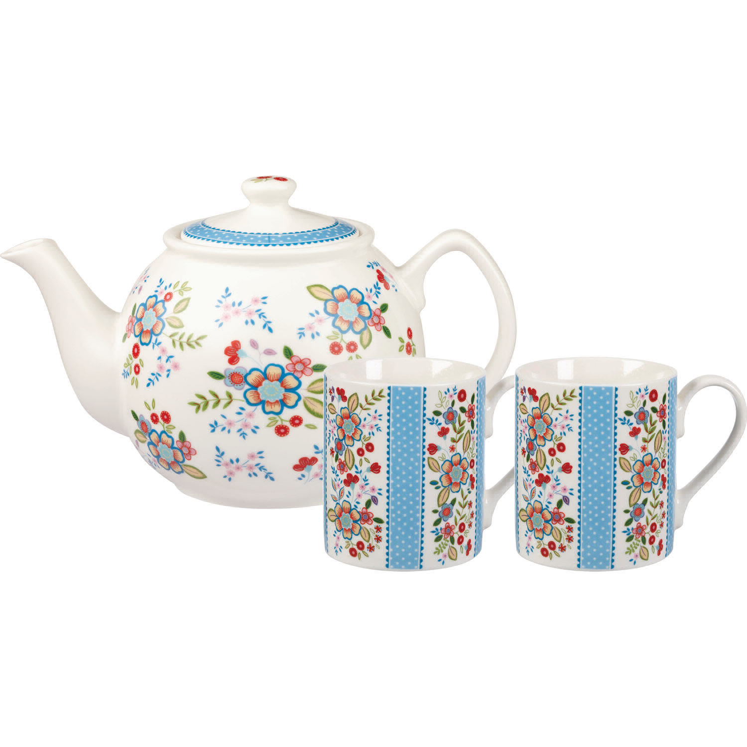 caravan trail teapot and mugs for two