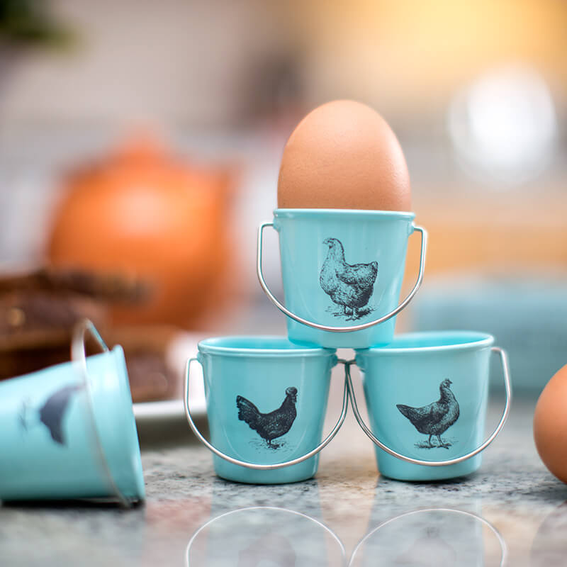 retro chicken pail egg cups