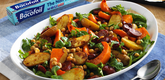 Warm salad of Roasted Butternut Squash, Chorizo and Chickpeas