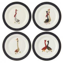 Christmas Geese 4 Piece Bone China Dessert Plate Set | Pre-Christmas Shopping