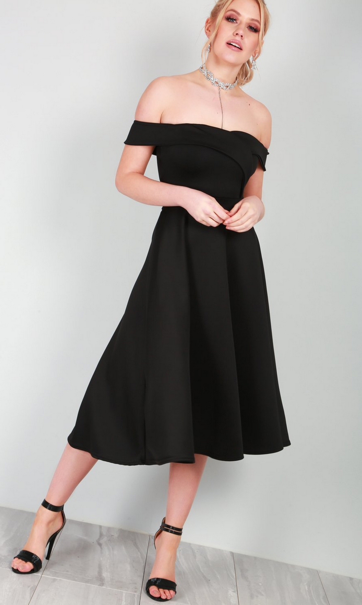 Ellie Off Shoulder Midi Dress | Pre-Christmas Shopping