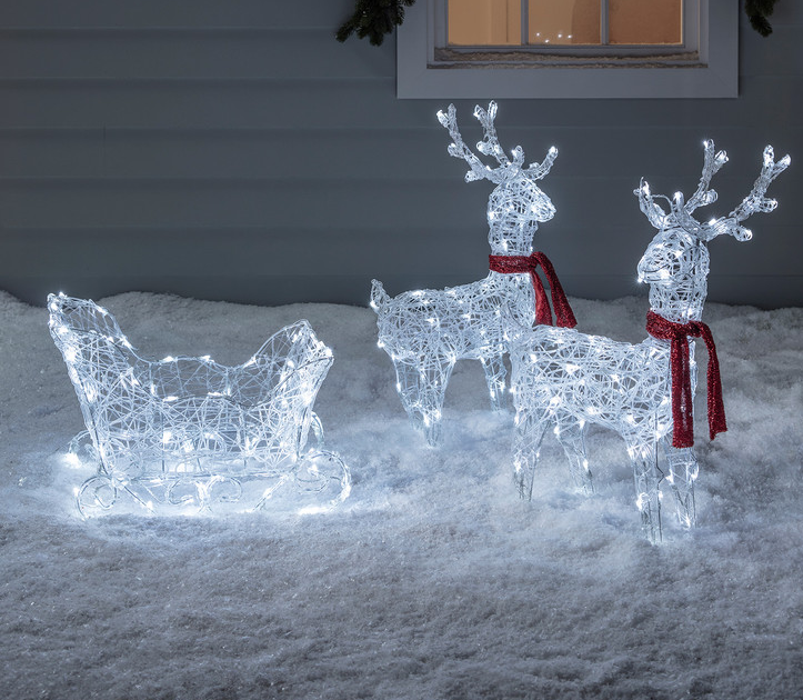 Reindeer & Sleigh Battery Acrylic Christmas Figure | Pre-Christmas Shopping