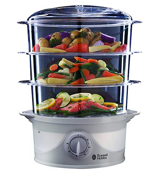 Russell Hobbs 21140 3-Tier Food Steamer, 800 W, 9 Litre, White | Pre-Christmas Shopping