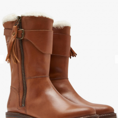 Joules Finchdale Block Heel Calf Boots, Tan Leather | #ChristmasGiftGuide