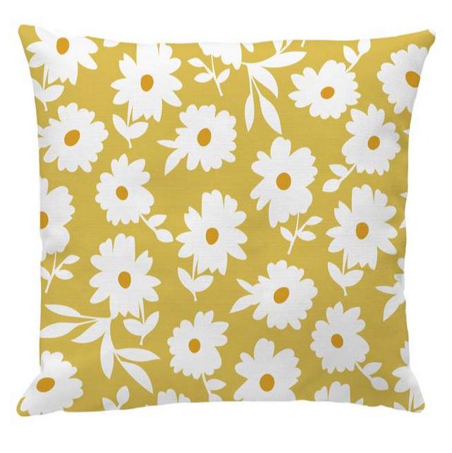 retro daisy floral cushion