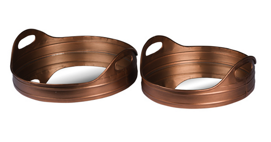 Set Of 2 Large Round Copper Effect Trays With Mirrored Base #MothersDay