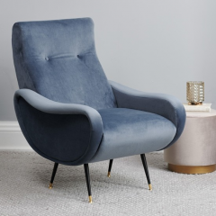 Joyce Armchair Blue Grey Velvet #MothersDay
