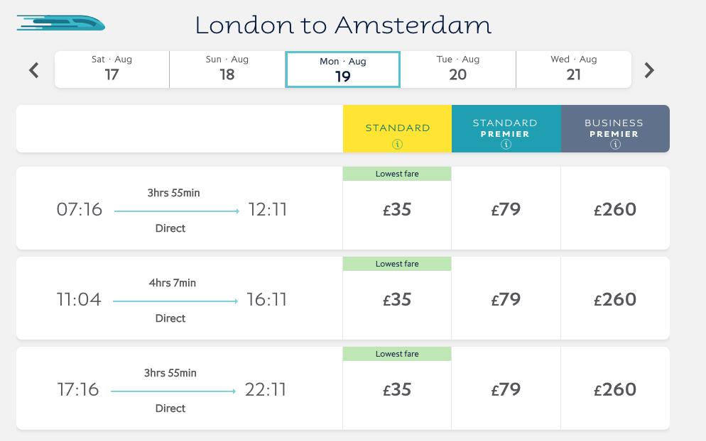 Direct London-Amsterdam Train