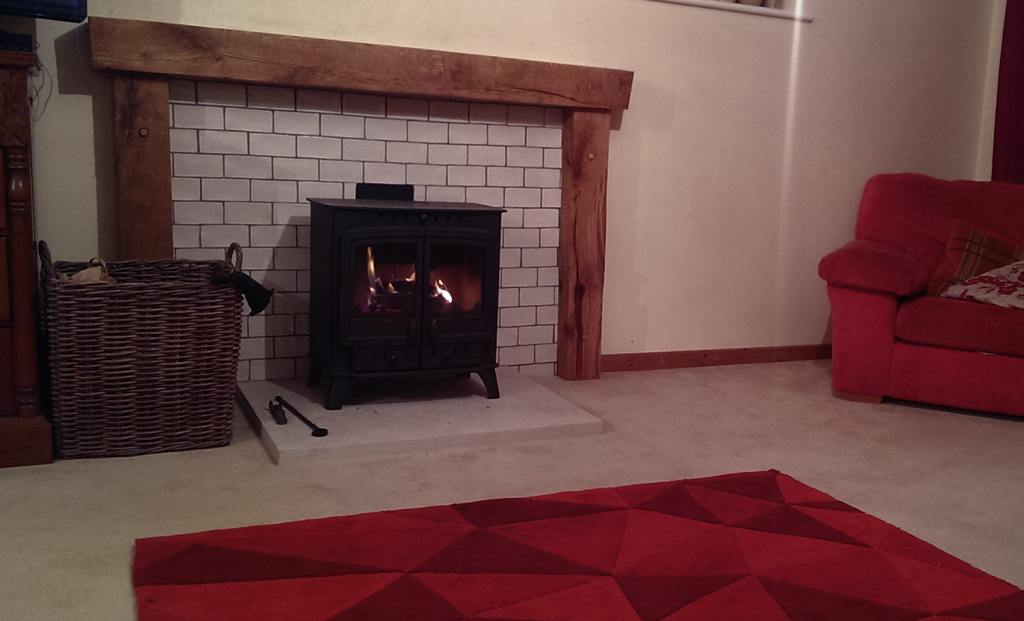 woodburner with tiled surround