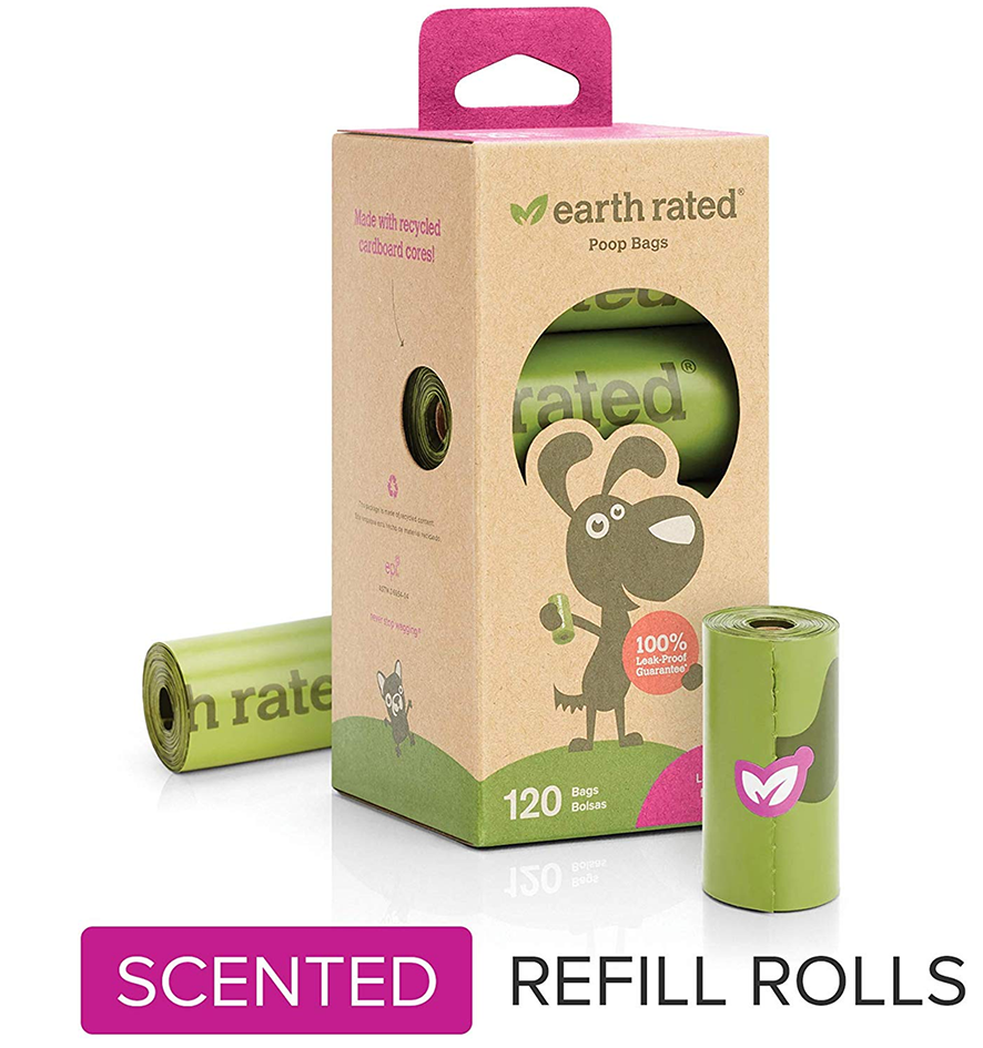 Earth Rated 120-Count Dog Waste Bags, Biodegradable Lavender-Scented Poop Bags, 8 Refill Rolls - amazon top pet buys