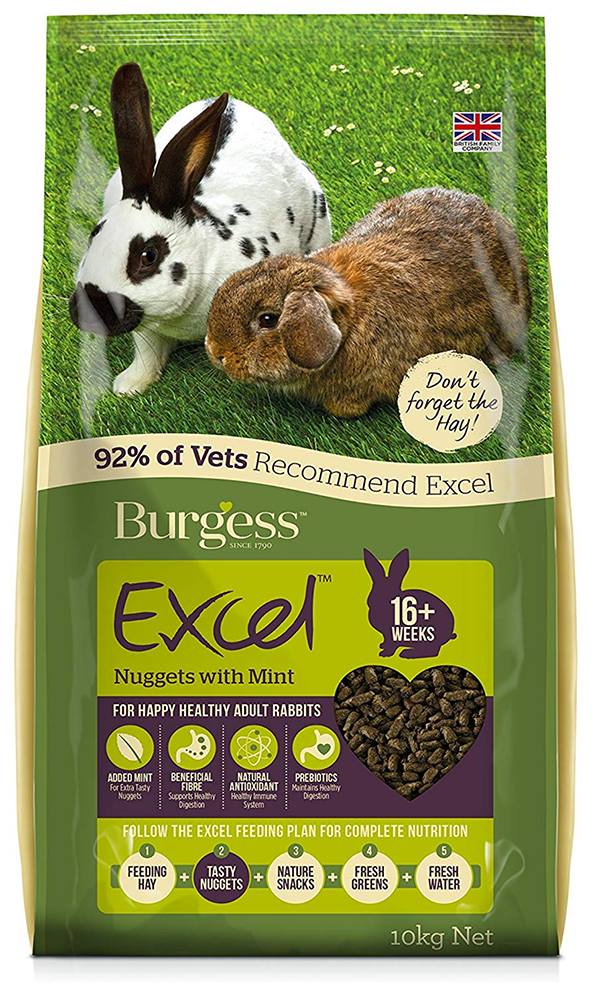 Burgess Excel Nuggets with Mint Adult Rabbit Food, 10 kg - amazon Top Pet Buys