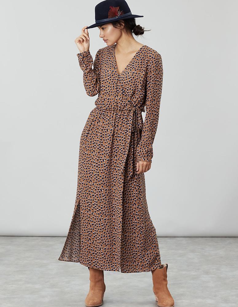 Chloe Fixed Wrap Dress - Mocha spot - Joules Clearance Sale