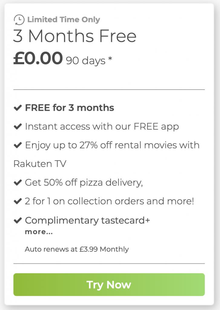 tastecard code free trial