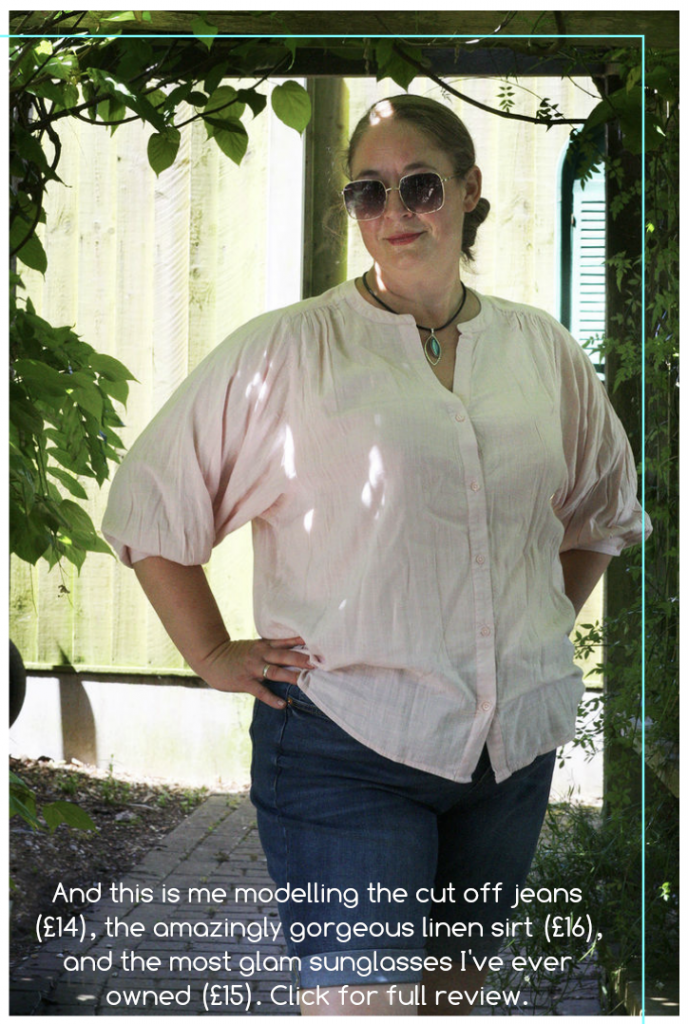 laura from littlestuff plus size model in a soft pink linen shirt