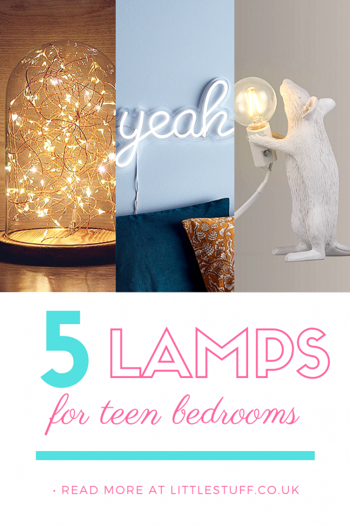 5 of the Coolest Lamps for a Teenager's Bedroom, with a range of lamps from neon wall lights to bao dumpling lamp.