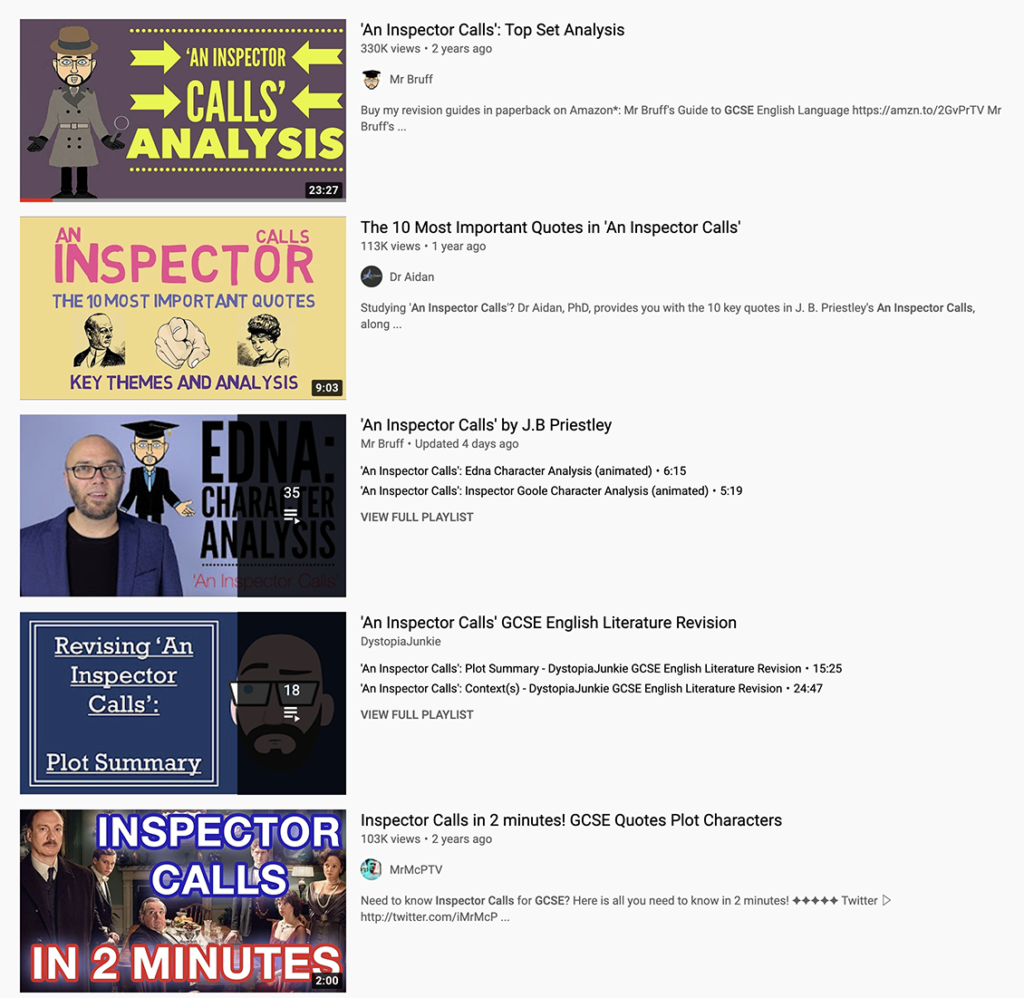 online resources for GCSE revision from YouTube