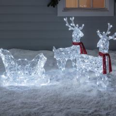 Reindeer & Sleigh Battery Acrylic Christmas Figure | Pre-Christmas Shopping